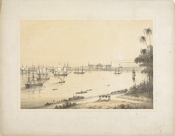 Calcutta. View up the Hooghly showing Government House and shipping